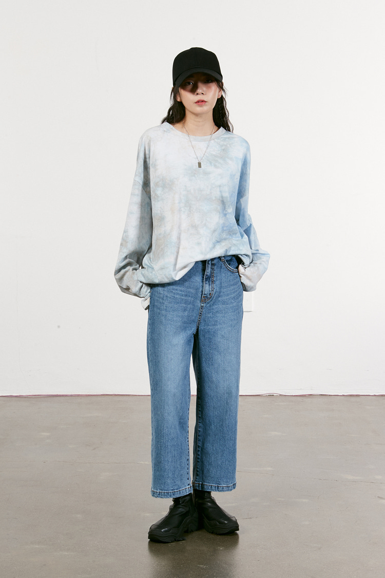 NOI002 crop wide denim pt (light blue)