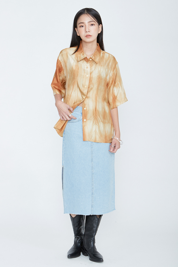 NOI073 washed long slit denim skirt (light blue)