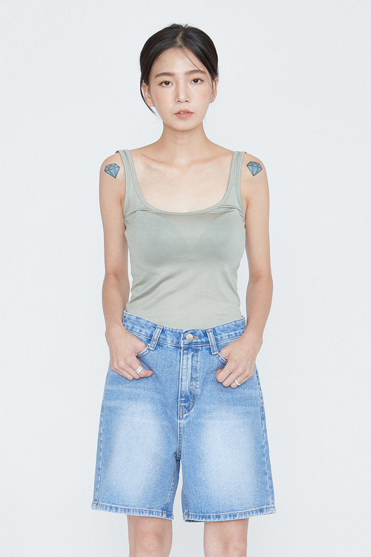 NOI075 baisic washed denim short pants (blue)