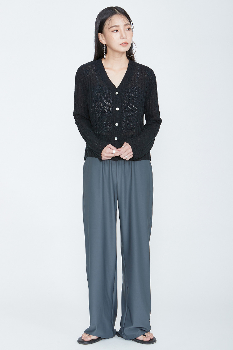NOI080 summer wide bandding pants (charcoal)