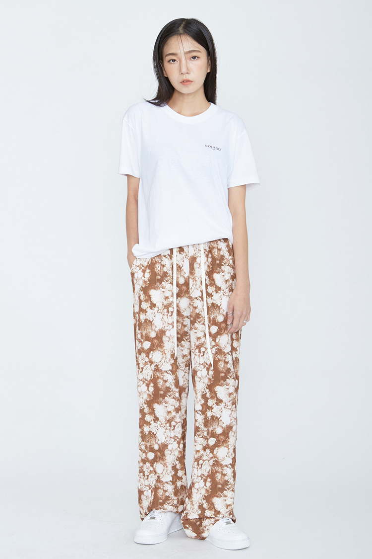 NOI088 rose wide bandding pants (brown)