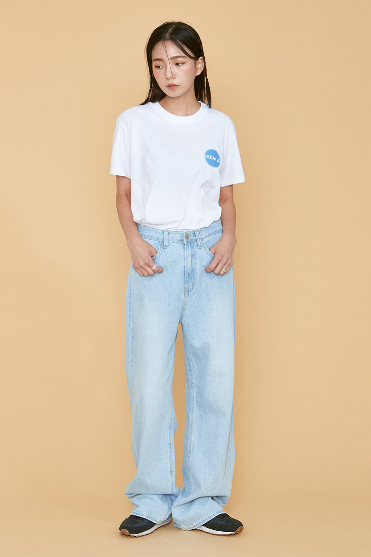 NOI063 light washed wide denim pants (light blue)