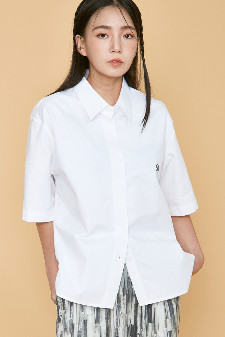 NOI099 basic overfit half shirts (white)