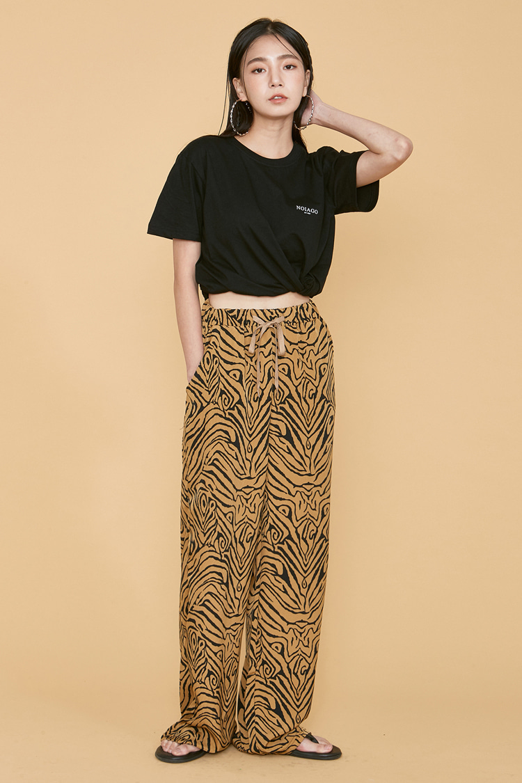 NOI090 zebra wide bandding pants (brown)