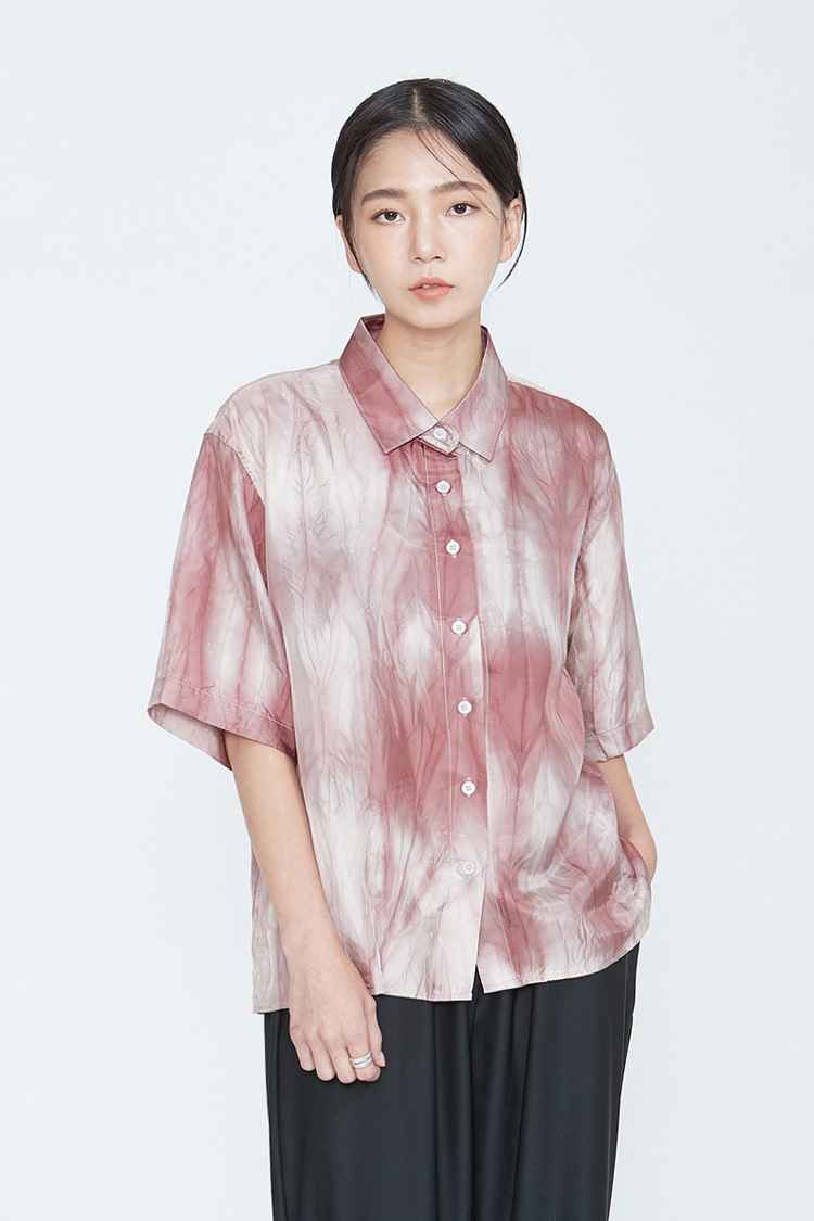 NOI096 garment dyeing half shirts (red)