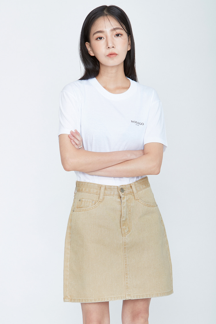 NOI070 cation denim skirt (beige)