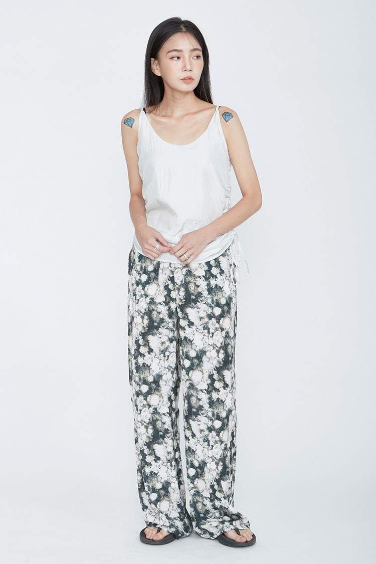 NOI087 rose wide bandding pants (dark green)