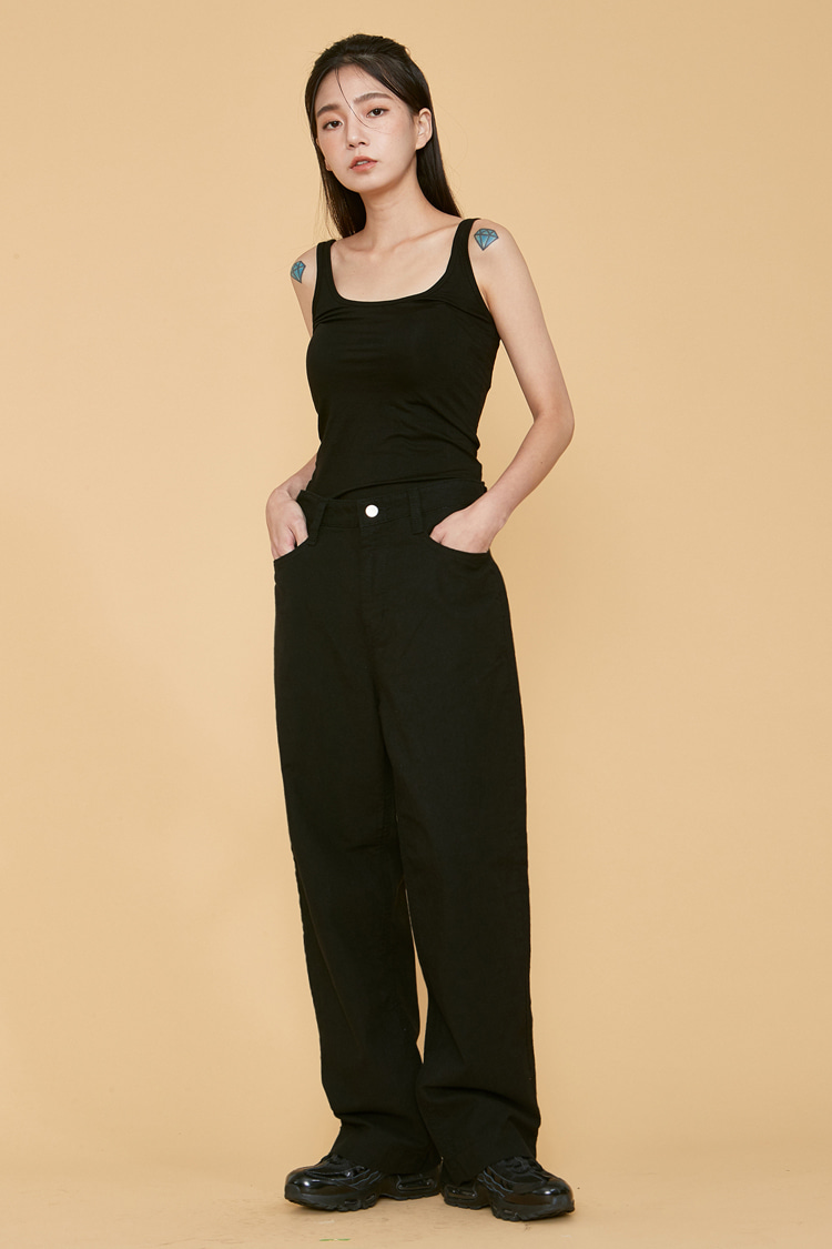 NOI069 straight fit linen deinm pants (black)