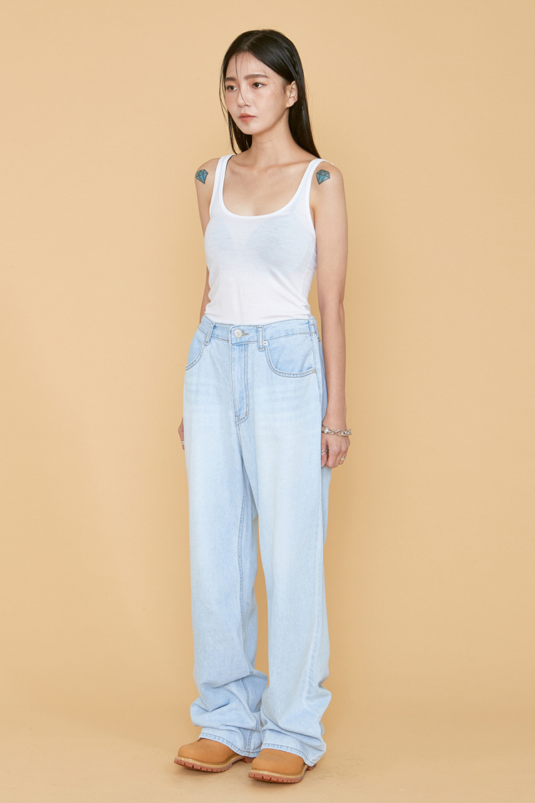 NOI064 wide fit bandding denim pants (light blue)