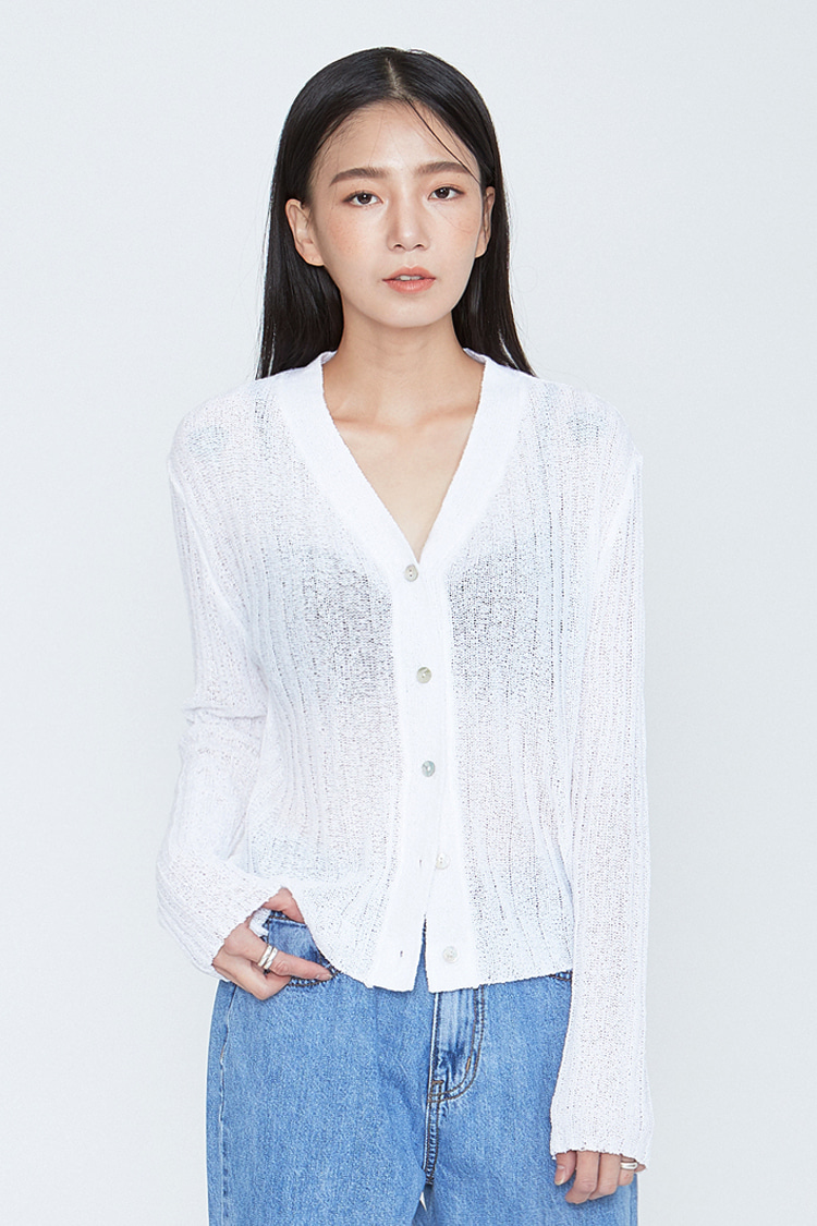 NOI092 summer knit cardigan (white)