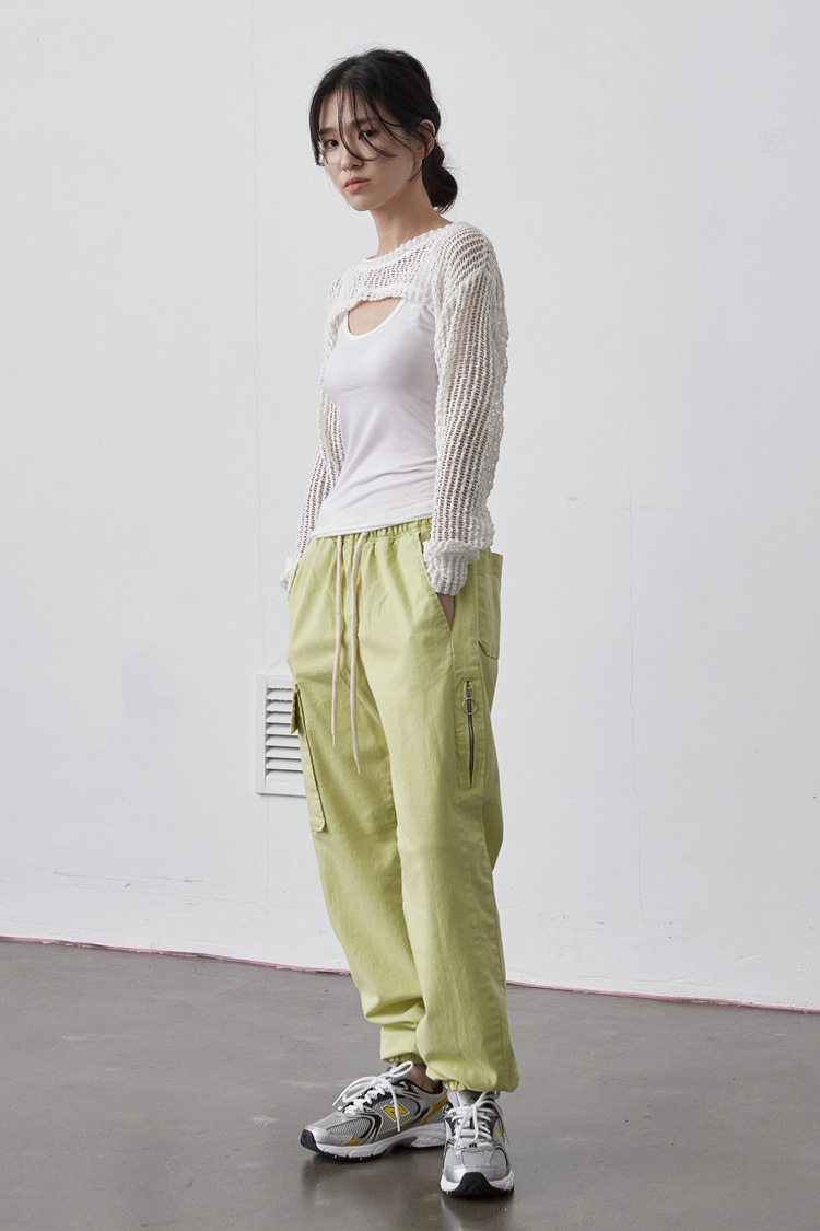 NOI140 cotton jogger pants (neon)
