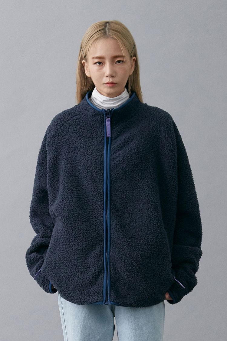 NOI152 solid fleece zip up (navy)