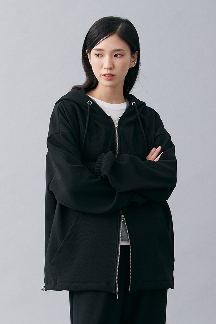 NOI183 pleats hoodie zip up (black)