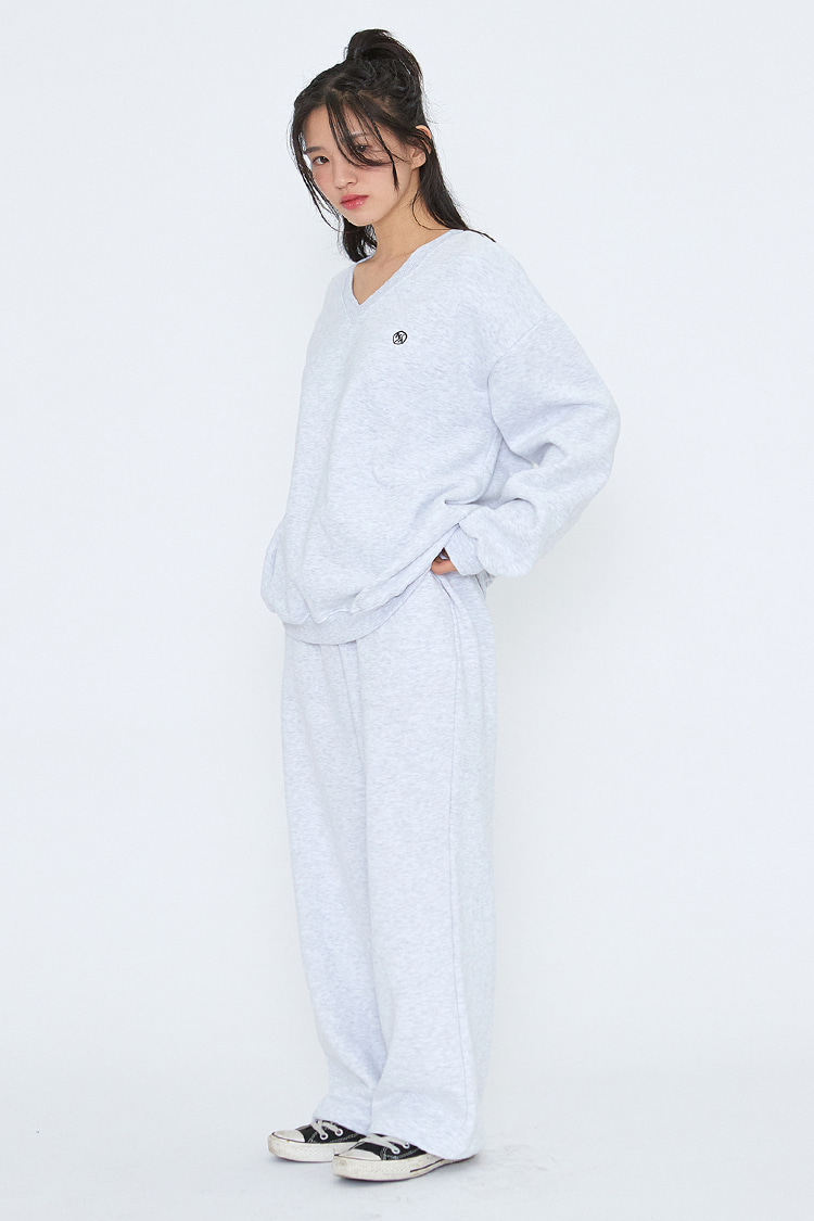 NOI227 [napping] long wide sweatpants (ivory)