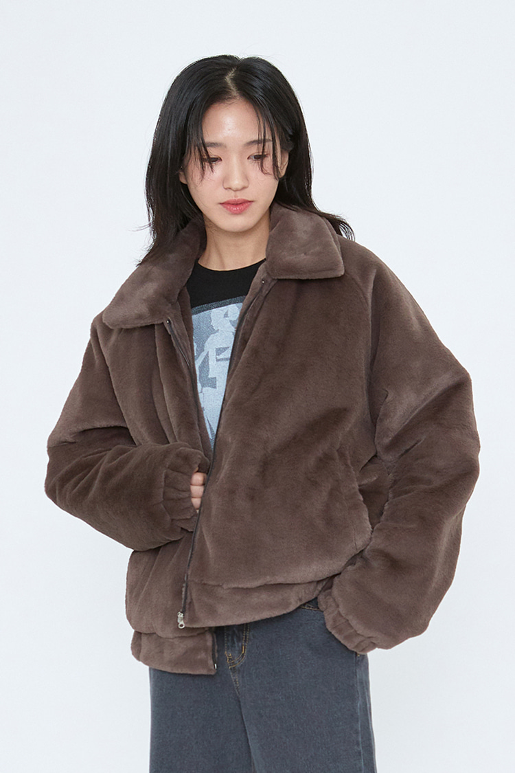 NOI257 fur bomber jacket (brown)