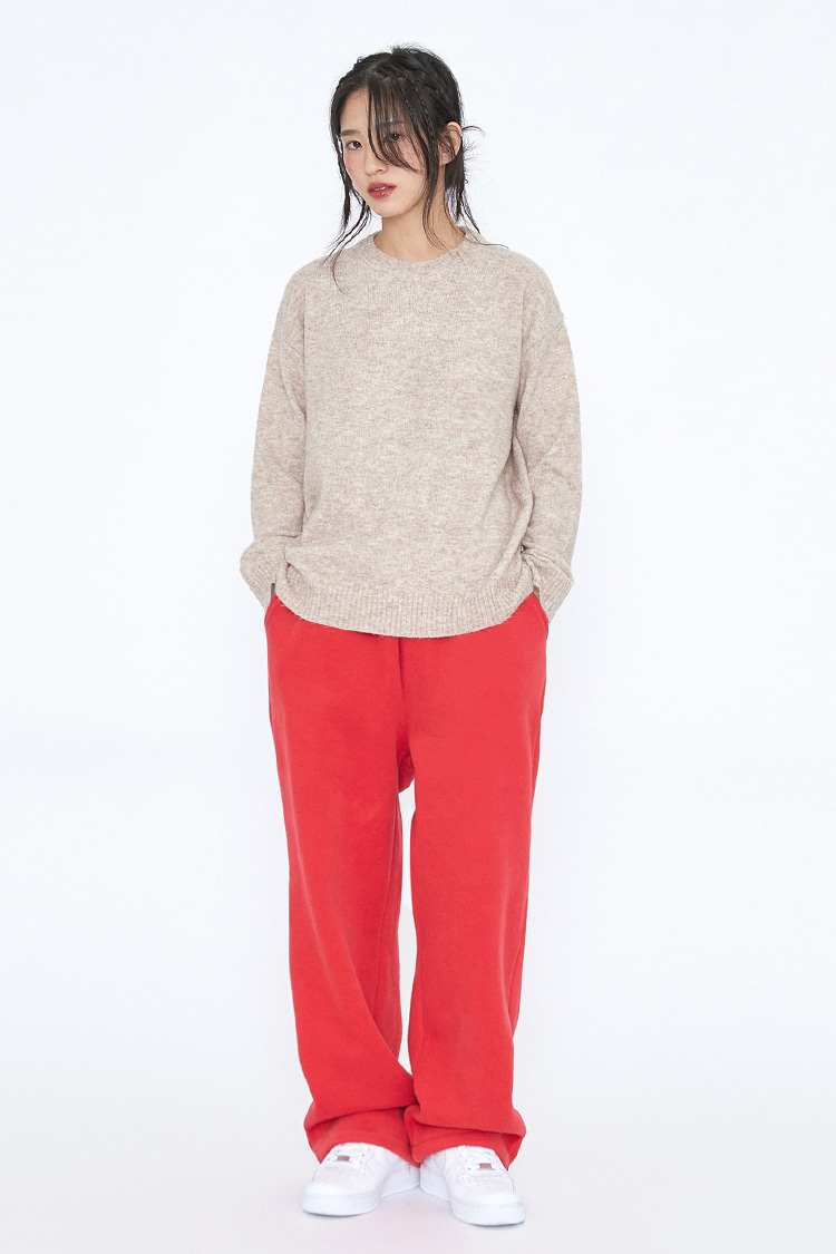 NOI226 [nappijng] long wide sweatpants (red)
