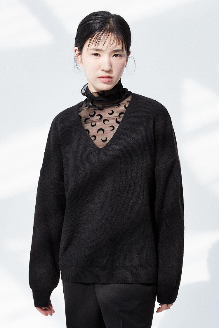 NOI291 wool blended V-neck knit (black)