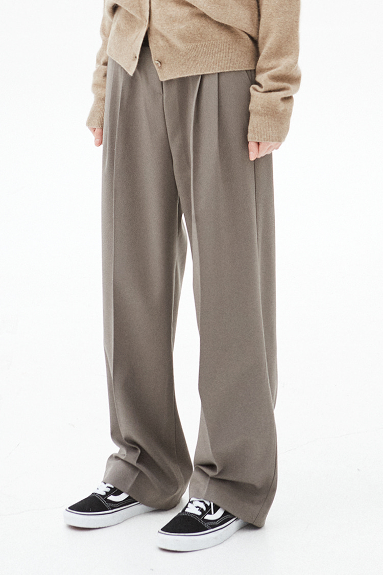 NOI270 pintuck wide slacks (khaki brown)
