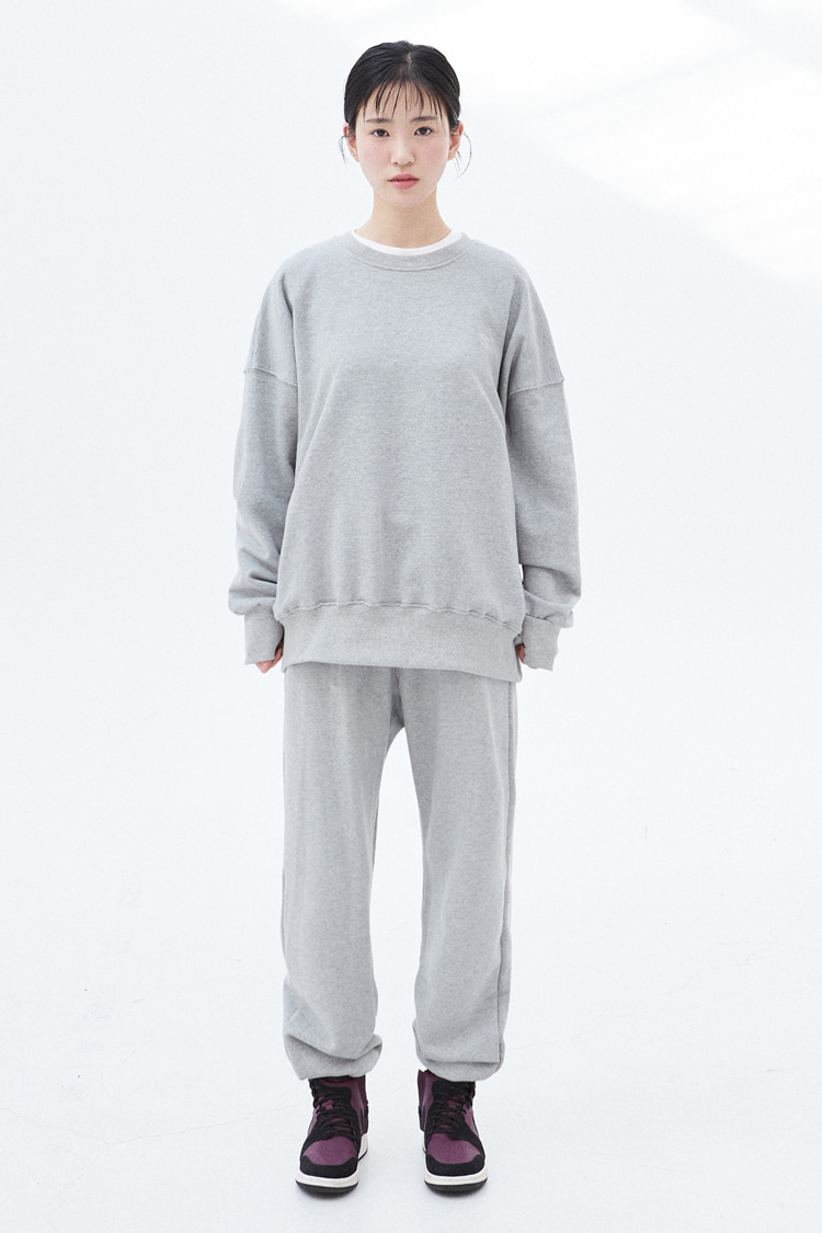 [SET]NOI308 essential sweat set (melange)