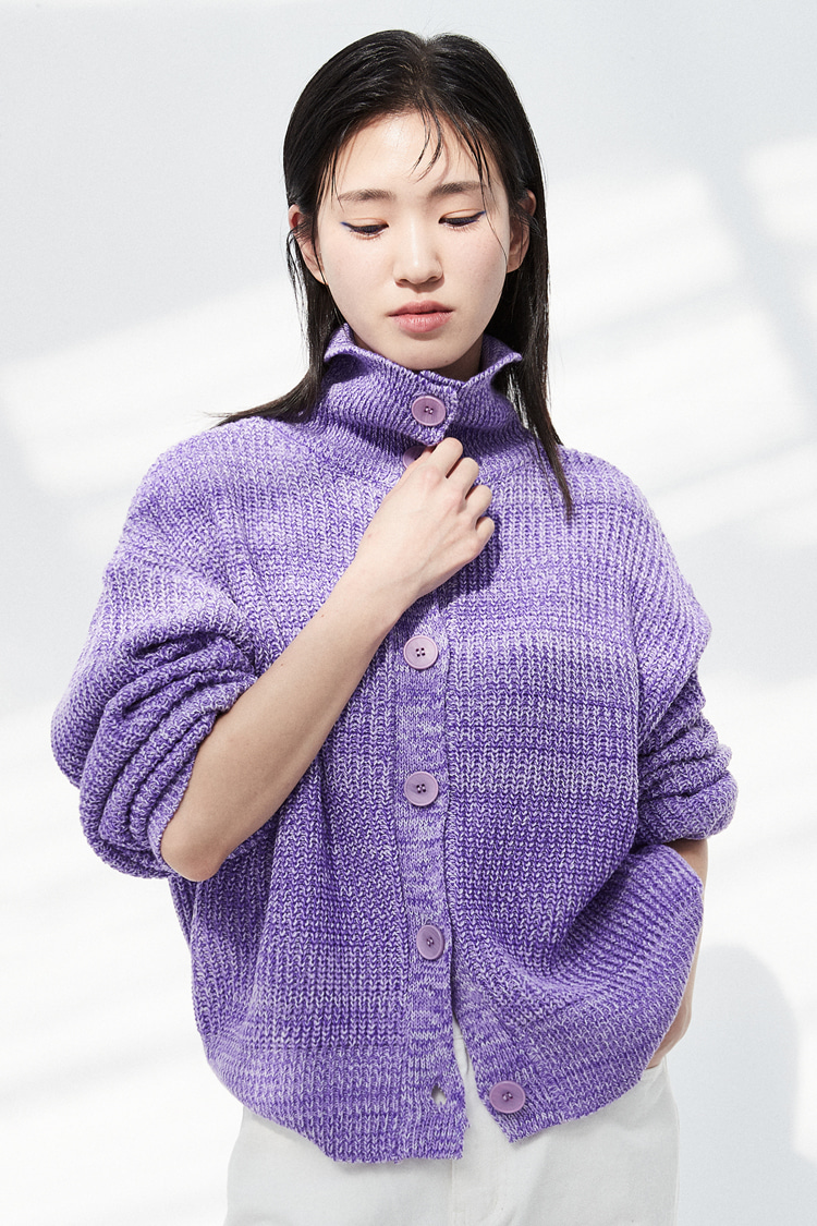 NOI299 high neck mix cardigan (purple)