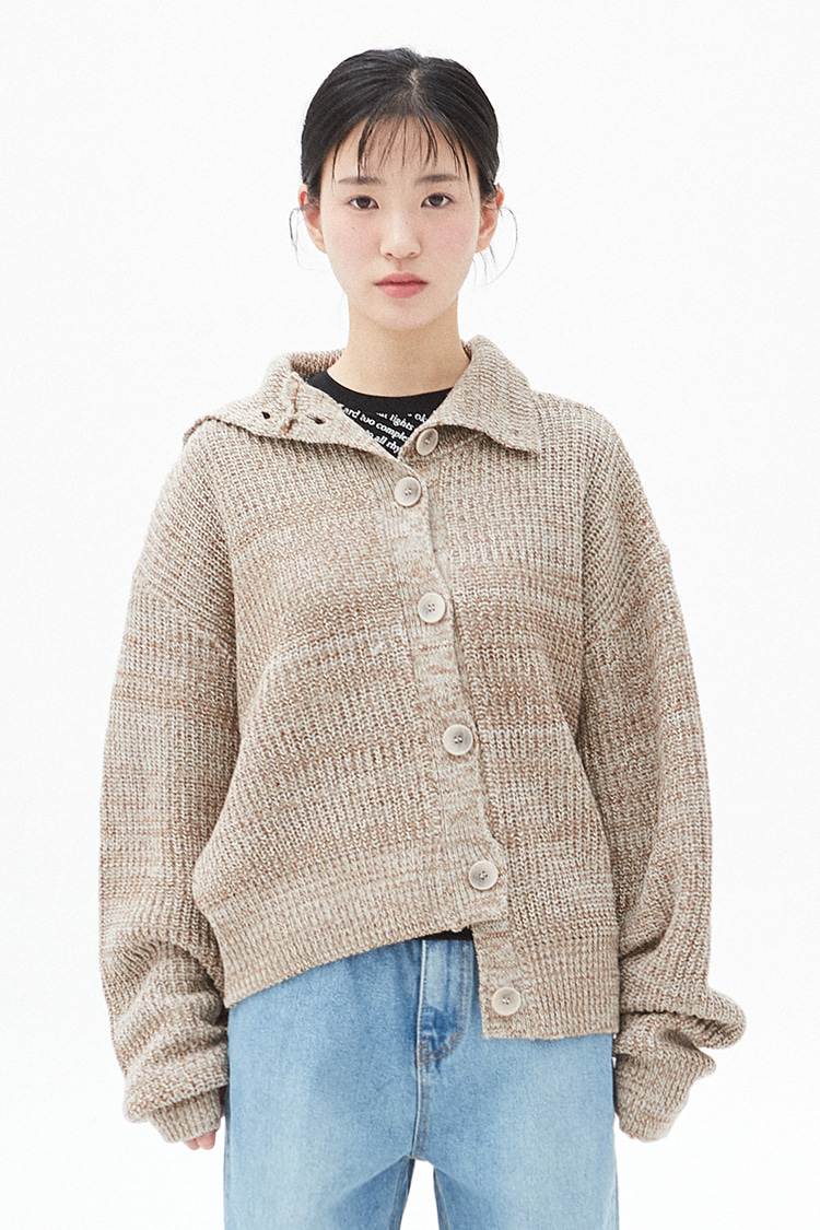 NOI300 high neck mix cardigan (beige)