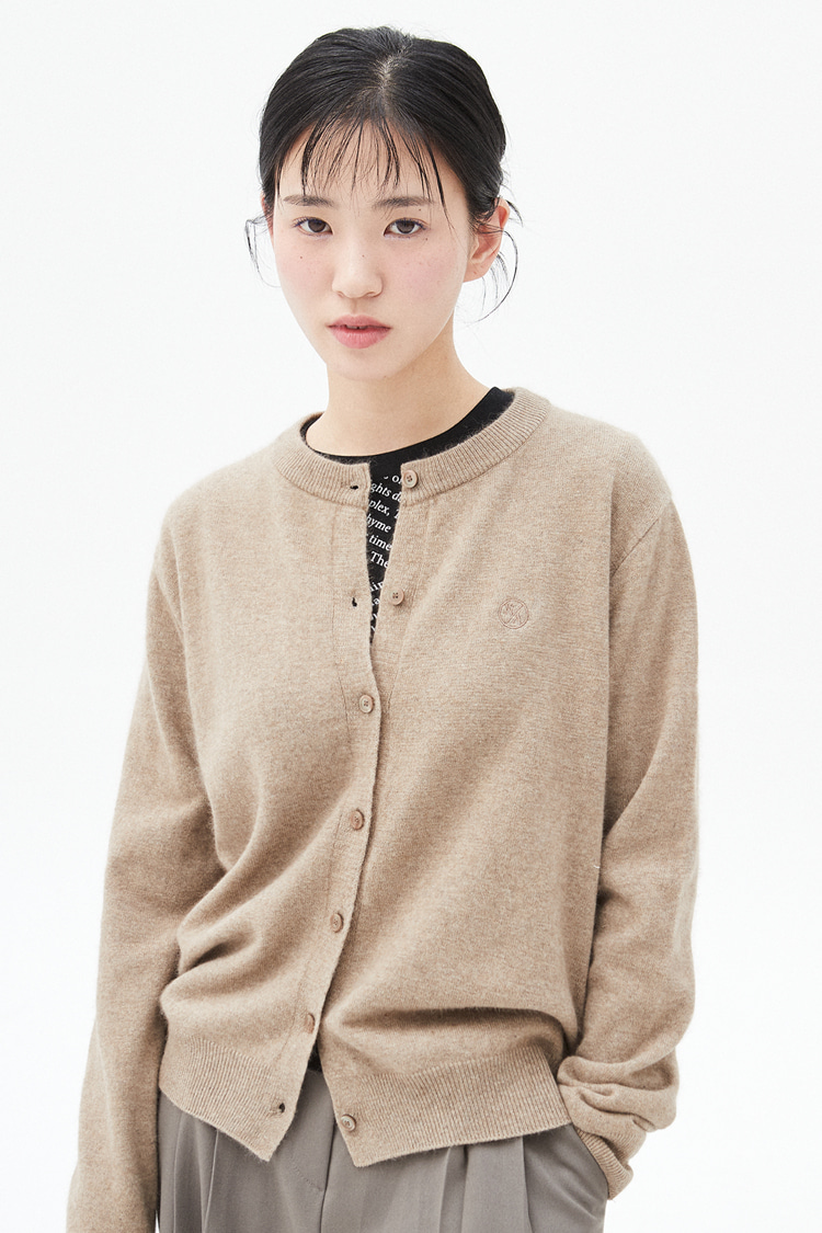 NOI287 raccoon round knit cardigan (brown)