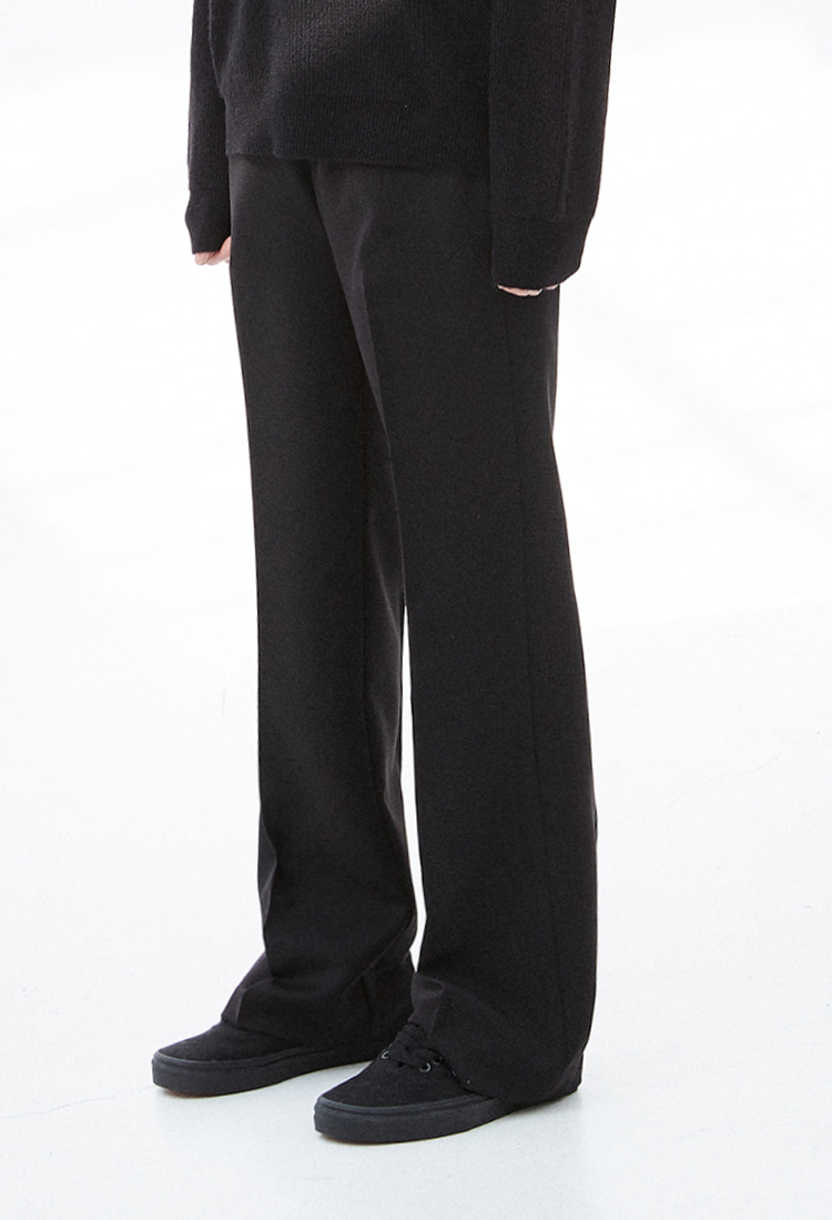 NOI314 boots cut wide slacks (black)