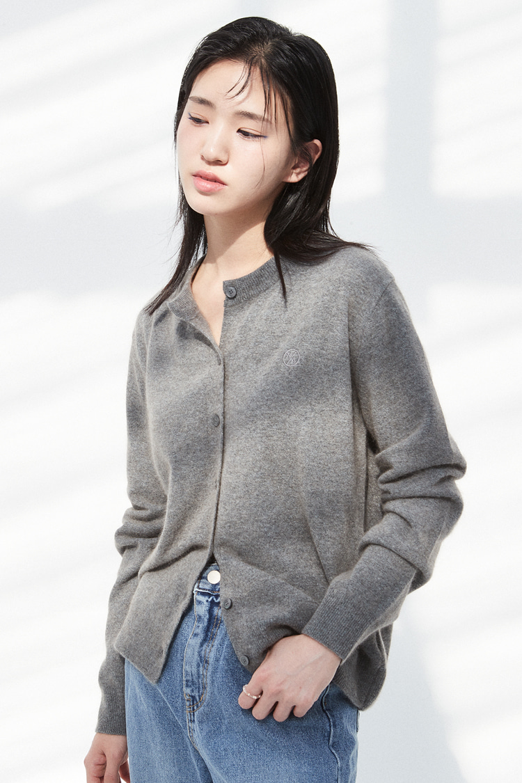 NOI288 raccoon round knit cardigan (gray)