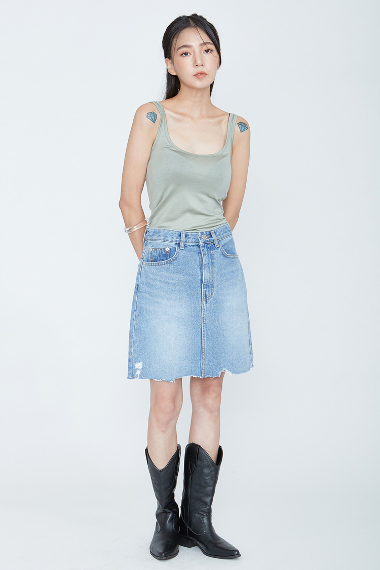 NOI072 damage denim skirt (light blue)