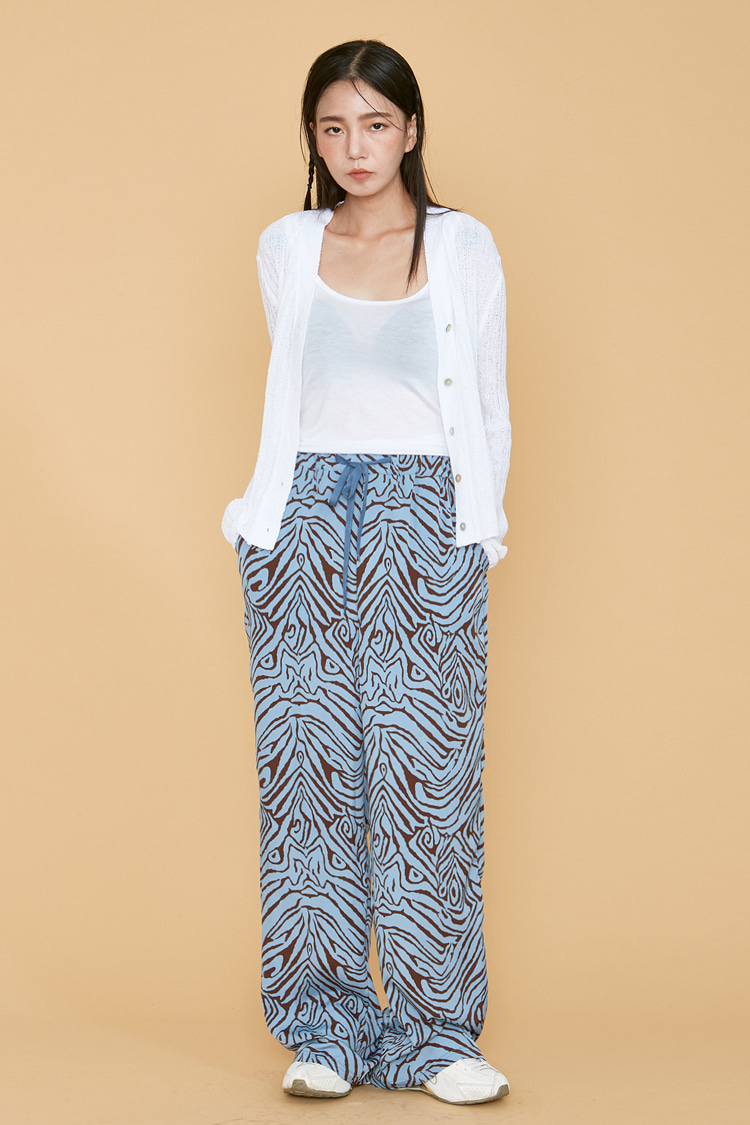 NOI089 zebra wide bandding pants (blue)