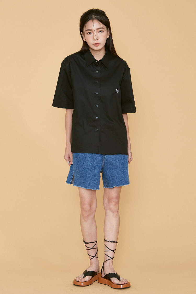 NOI079 cutting denim short pants (blue)