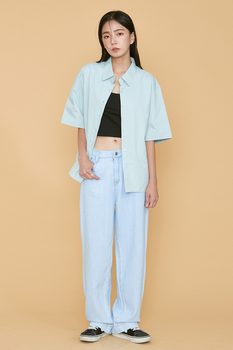 NOI066 straight fit linen denim pants (light blue)
