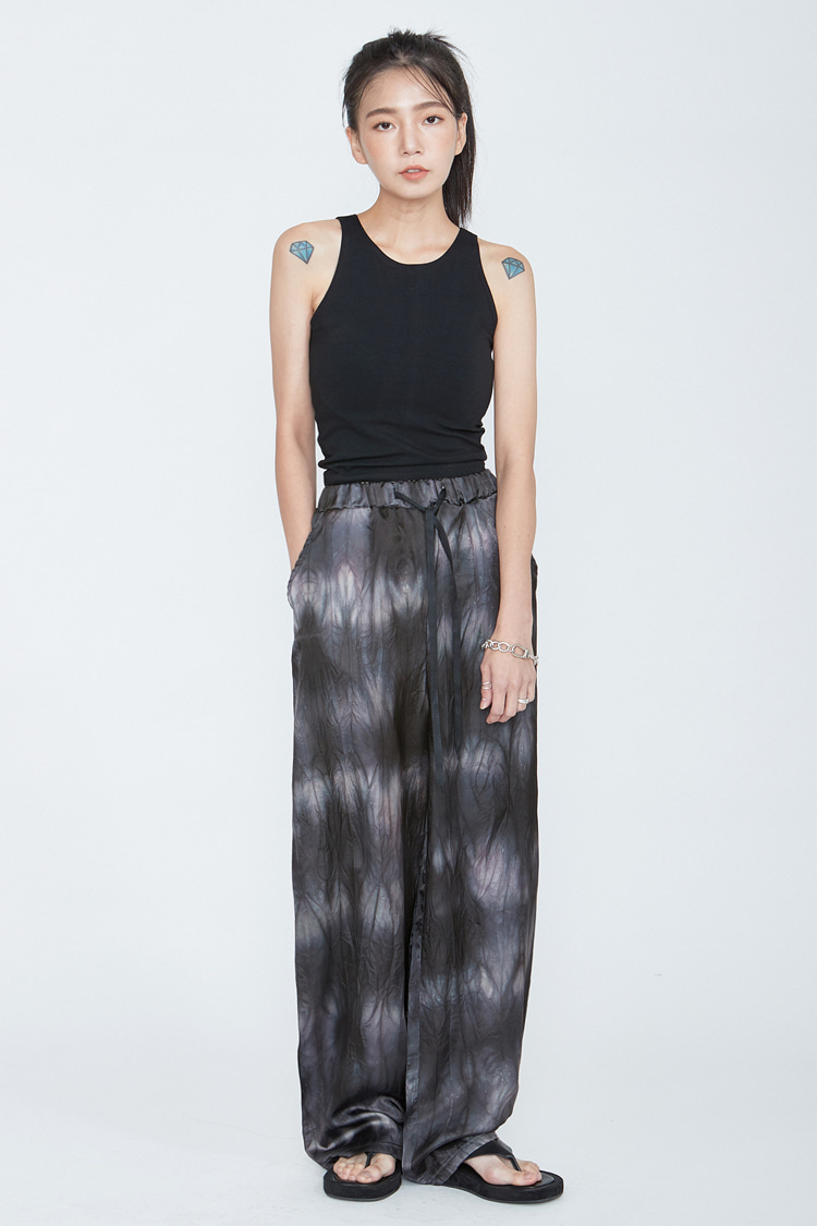 NOI084 garment dyeing wide bandding pants (black)
