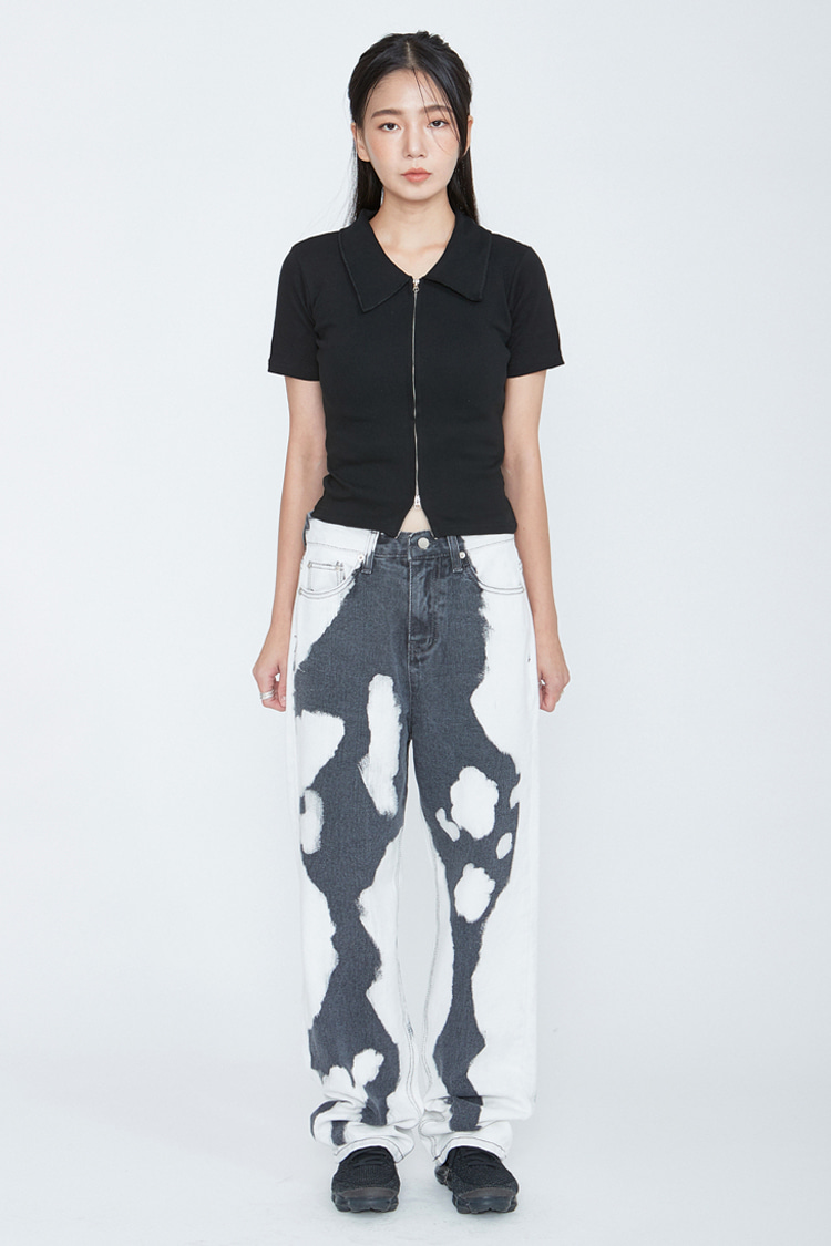 NOI060 stain dyeing wide denim pants (black)