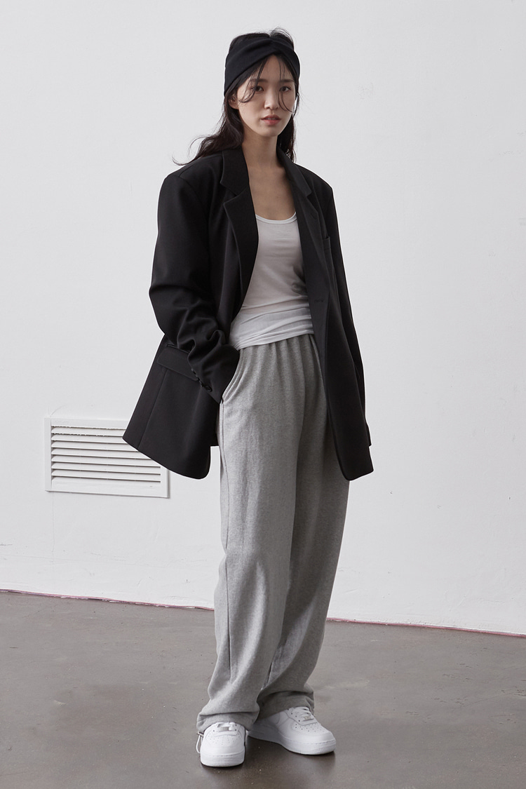NOI119 long wide sweat pants (melange)