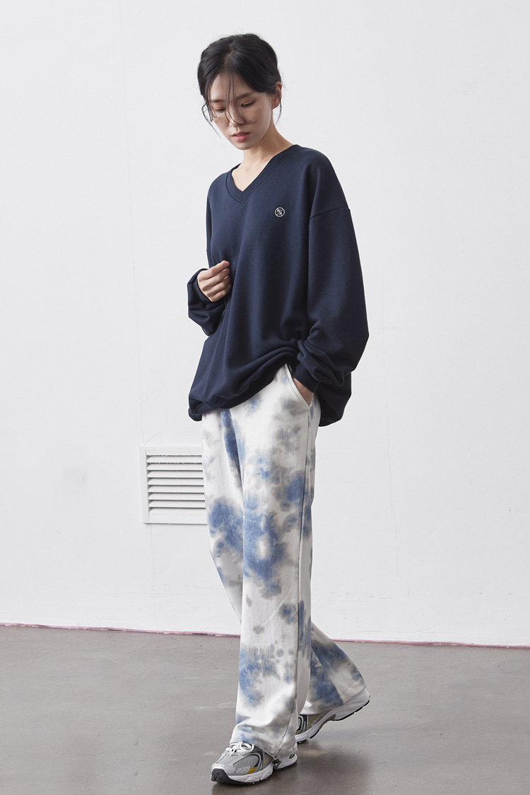 NOI122 stain dyeing sweat pants (blue)