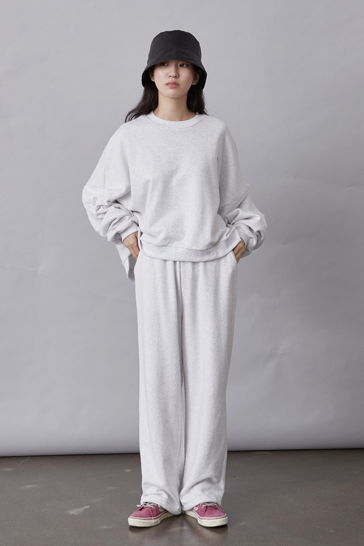 NOI118 long wide sweat pants (ivory)