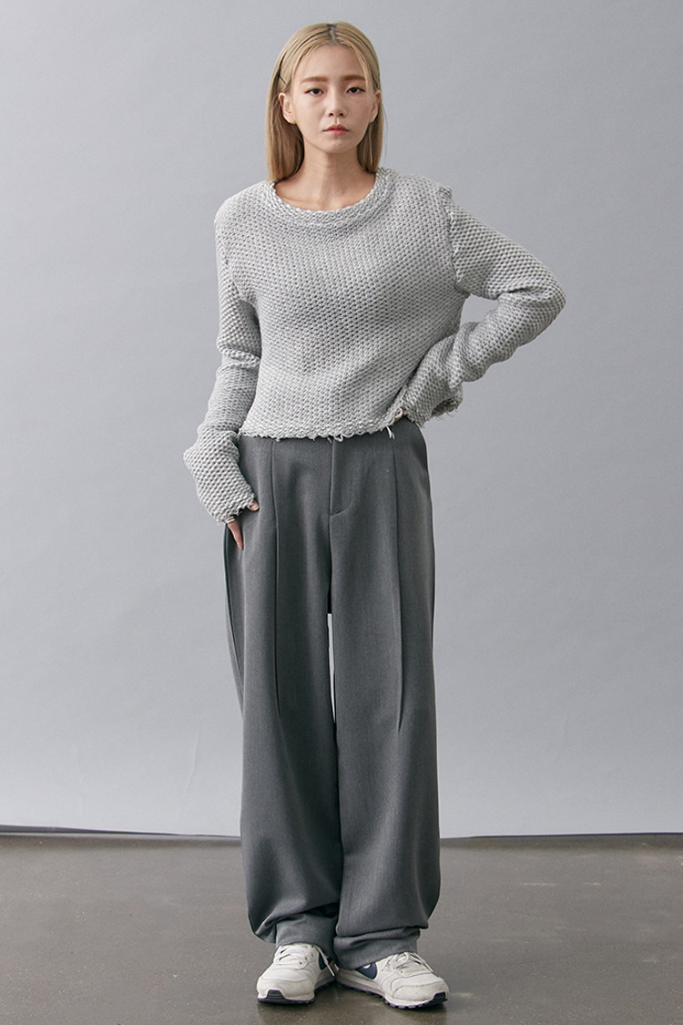 NOI189 loose wide slacks (gray)