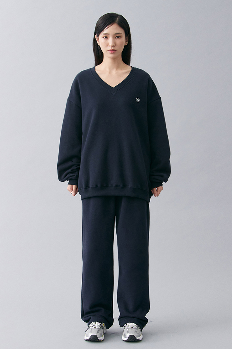 NOI175 [nappijng] long wide sweatpants (navy)