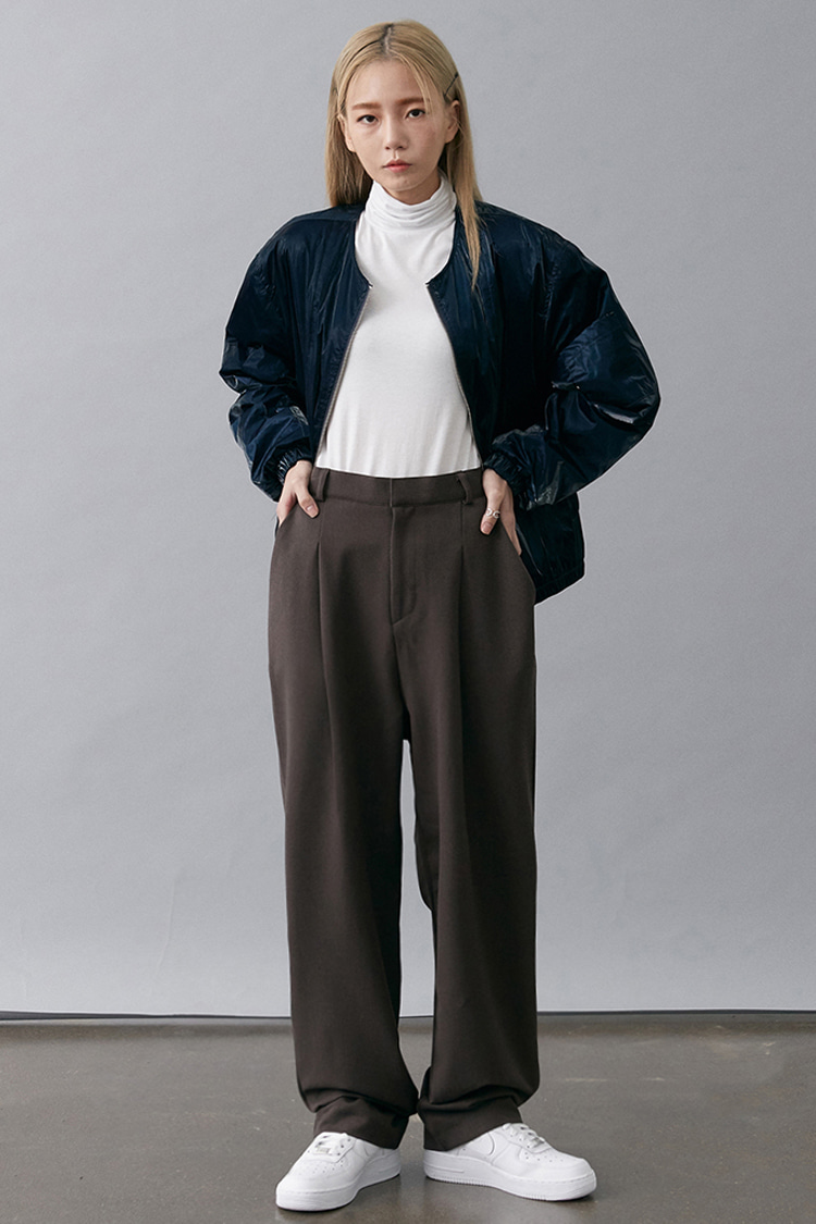 NOI188 loose wide slacks (brown)