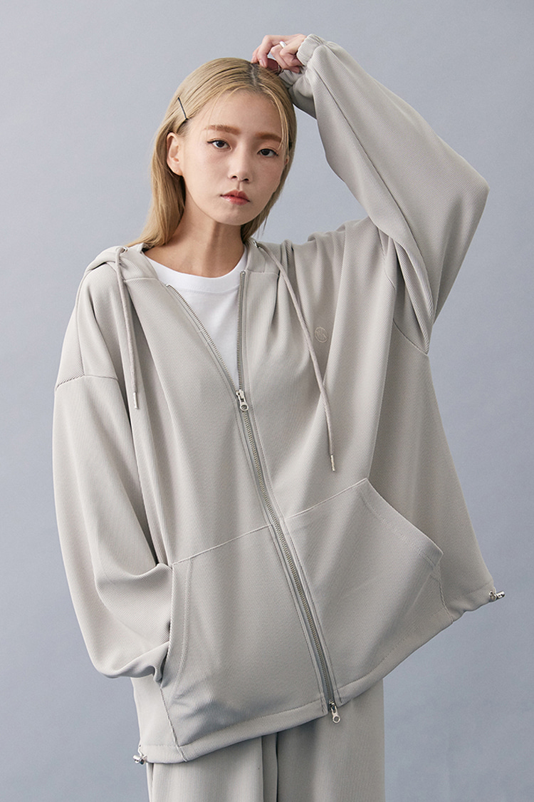NOI182 pleats hoodie zip up (beige)