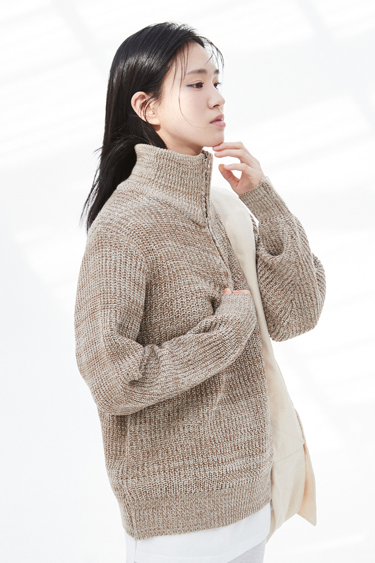 NOI302 mix knit zip up (beige)
