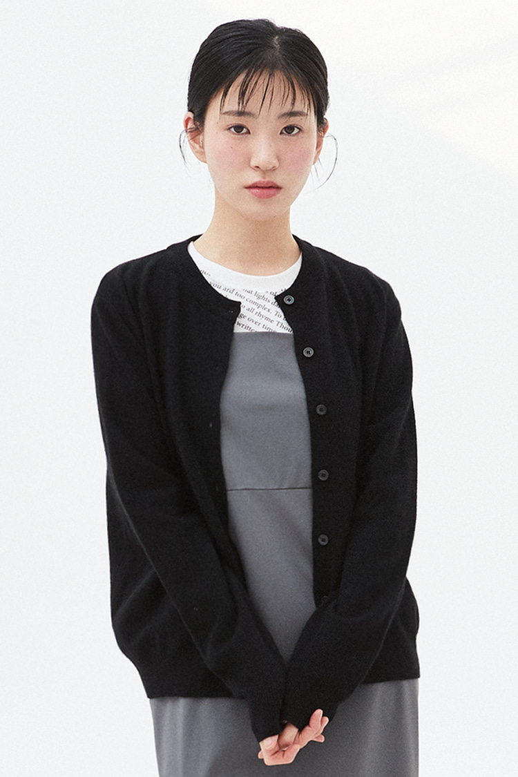 NOI289 raccoon round knit cardigan (black)