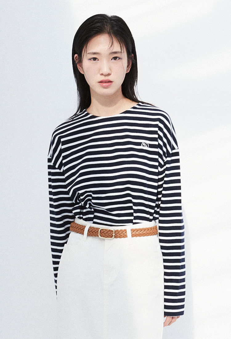 NOI321 basic stripe longsleeve (navy)