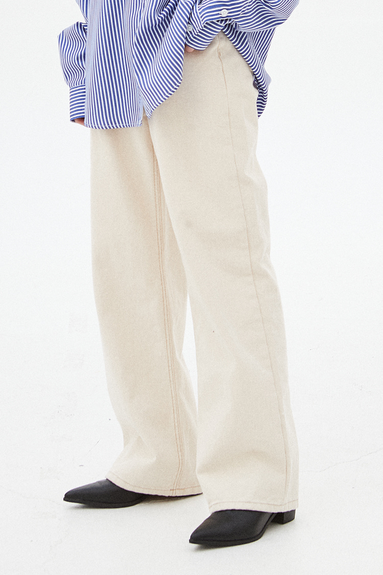 NOI265 straight loose fit wide pants (oatmeal)