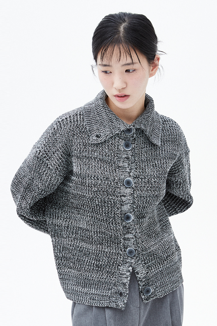 NOI301 high neck mix cardigan (black)