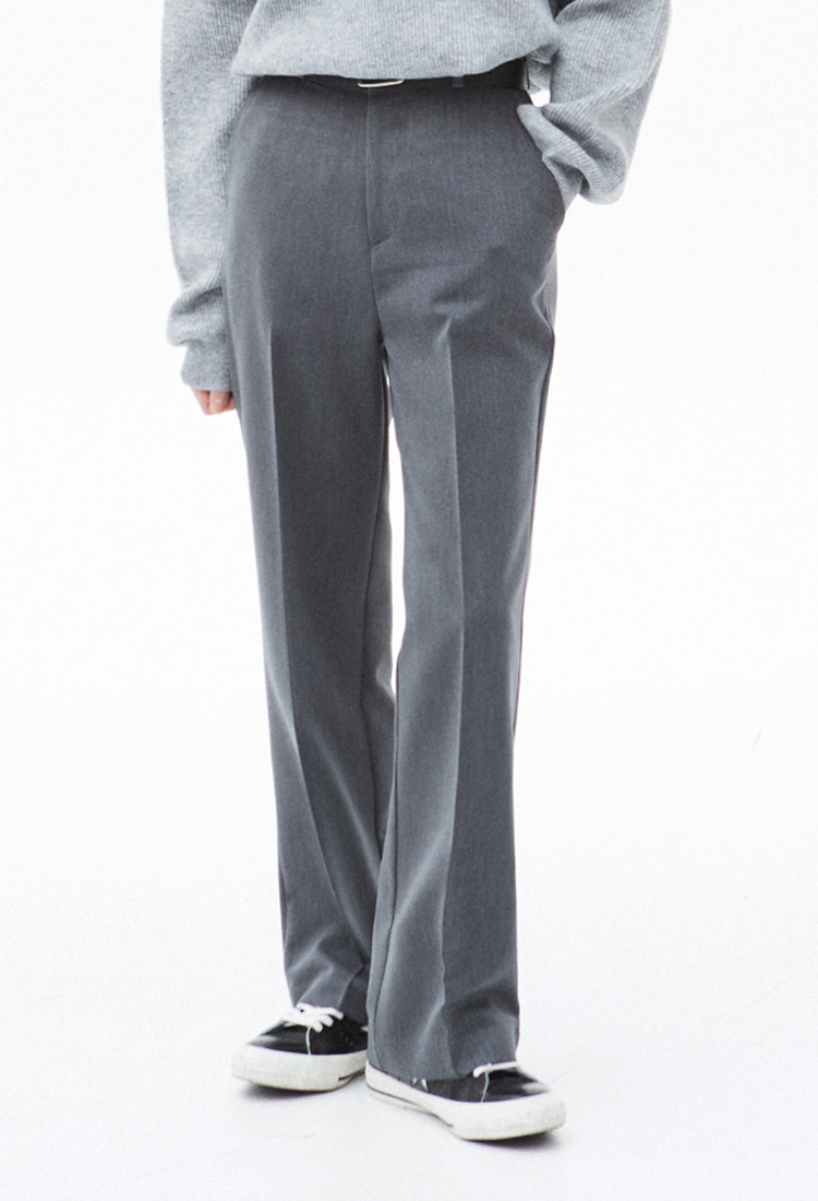 NOI313 boots cut wide slacks (gray)