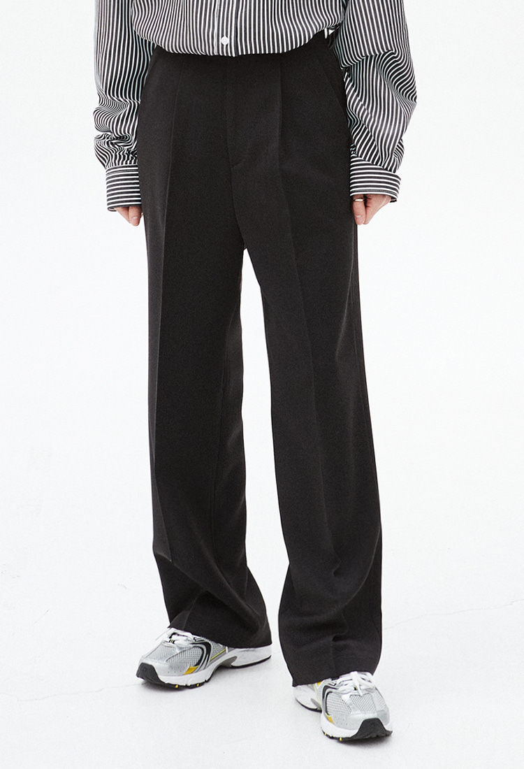 NOI316 comfort wide slacks (black)