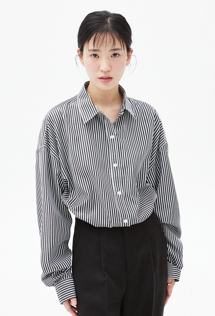 NOI325 overfit stripe shirts (black)