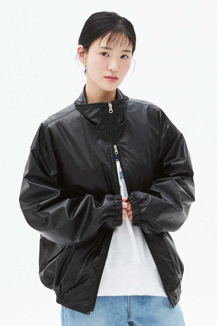NOI306 overfit leather jacket (black)